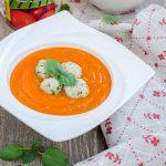 Supa crema de rosii cu perisoare de peste